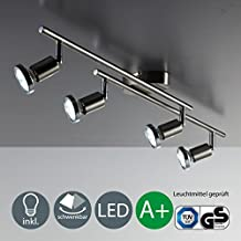 Foco LED de techo / Lámpara de techo / Foco / GU10 / 3vatios / 250lúmenes / orientable / incluye anillo cromado / níquel mate, níquel mate, GU10 12.00 wattsW[Clase de eficiencia energética A+]