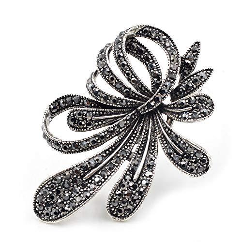 WYFCP Brosche Cindy Xiang Strass Schwarze Blume Broschen Für Frauen Vintage Antik Silber Brosche Elegante Exquisite Broches Neujahrsgeschenk