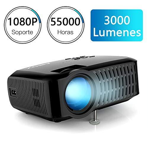 """ABOX A2 3000 Lúmenes Proyector, LED Mini Proyector de Cine en Casa, Resolución 1280*720, Soporte 1080P, 32 - 176"""", Soporte Fire TV Stick/Xbox/PS4/ PC/Mac/iPhone/ Android con Multiples interfaces"""
