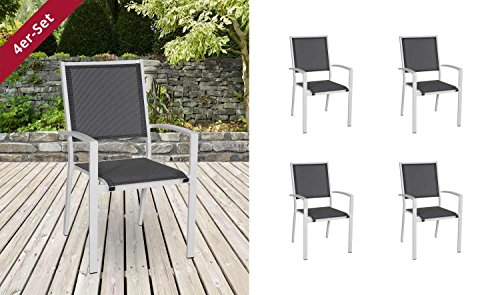 4 Gartenstühle, Stapelstühle Aus Aluminium, Stapelsessel, Gartenstühle,  Gartensessel, Balkonstühle, Metall