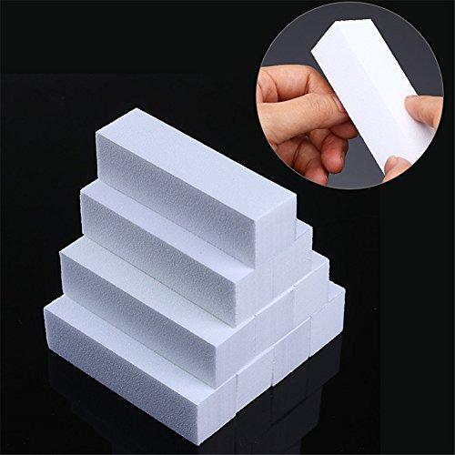 NICOLE DIARY 10 Stück Weiß Nail Art Puffer Schleifblock Schleifen Polieren Glätter Datei Grit Maniküre Nail Art Werkzeug -