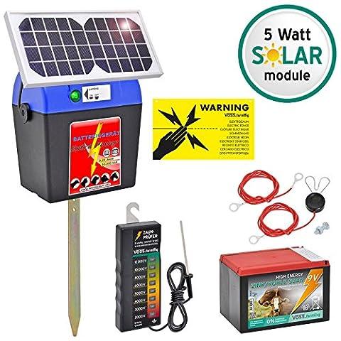 SET: 9V Electric Fence Energiser including Solar Panel, Cables, Battery, Fence Tester, international Warning Sign