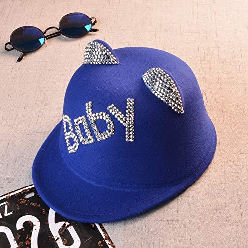 2018 Hut für Kinder,Katze Ohren Hut Kinder Baby Stick Bohrer Kleiner Hut Cartoon Katze Ohren Hut Mode Flut Haar, Königsblau, Code 52cm ()