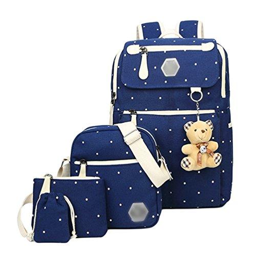 YOUJIA 5 Pcs Sets de útiles escolares para Adolescentes, Ocio Colegio Mochila + Bolsos bandolera + Estuches + Cartera + Colgante de oso de peluche (Azul oscuro)