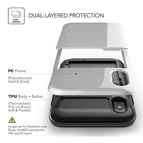 iPhone X Hülle, VRS Design® Schutzhülle [Silber] Schlagfesten Case Kratzfeste Stoßsichere Handyhülle Halbautomatik Schiebetür mit Kartenfach [Damda Glide] für iPhone X Silber