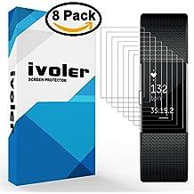 Protection écran Fitbit Charge 2, iVoler® [8 pièces] 3D Incurvé Couverture Complète [Liquide Installation] [Anti-rayures] [Sans bulles] TPU Film Protecteur HD Transparent Screen Protector pour Fitbit Charge 2