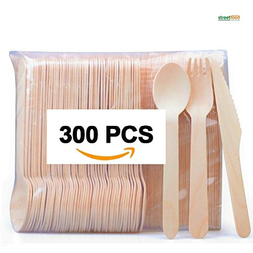 "Disposable Wooden Cutlery Sets - 300 Piece Total: 100 Forks, 100 Spoons, 100 Knives, 6"" Length Eco Friendly Biodegradable Compostable Wooden Utensils Wooden Cutlery - Great for Parties, Weddings & Dinner Events - Streetfood Pack"