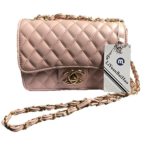 Handtaschen Messenger Bag Lingge Kette Paket Schulter Mode Mini Tasche,Pink-OneSize (Party Schulter Tasche)