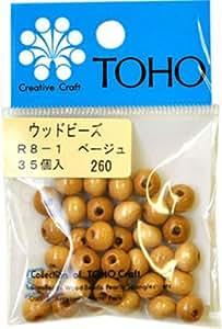 Perles TOHO bois 8mm R8-1 (beige) ensemble 5P (japon d'importation)