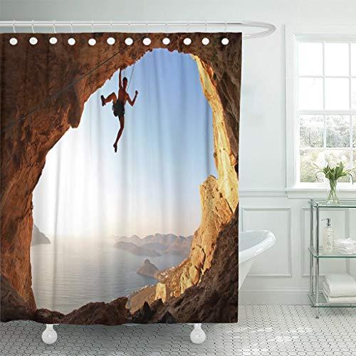 Luancrop Duschvorhang Sport Rock Climber bei Sonnenuntergang Kalymnos Island Griechenland Climb Waterproof Polyester Fabric Set mit Haken -