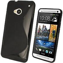 igadgitz Dual Tone Negro Case TPU Gel Funda Cover Carcasa para HTC One M7 Android Smartphone + Protector de pantalla
