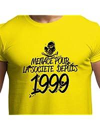 T-Shirt Anniversaire Homme 18 Ans Menace Pour La Société Depuis 1999