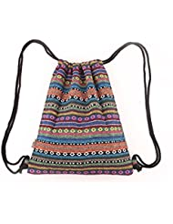 Panzexin Géométrie toile sac à dos de style ethnique sac bandoulière voyage sac à dos loisirs Rétro Sac à cordonnet Sacs de sport