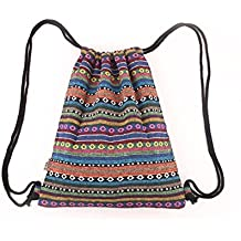Panzexin Geometria stile etnico zaino tracolla tela zaino di svago di viaggio Borse Retrò coulisse borsa sportiva