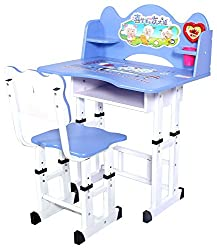 Furncoms Study Table and Chair for Kids (Matt Finish, Blue)