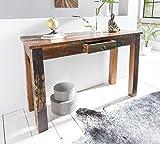 FineBuy Konsolentisch Kalkutta 120 x 50 x 84 cm | Massivholz Schreibtisch mit Schubalde | Anrichte Schlafzimmer Shabby-Chic | Wohnzimmer Konsole | Flur - Gang Tisch Schmal