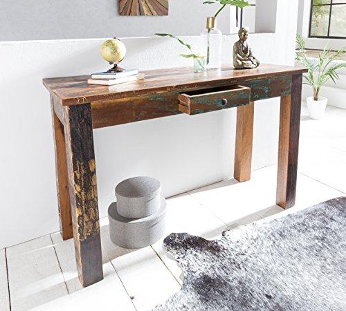 Wohnling Console 120 cm Delhi Bois Shabby Vintage Landhaus Braun | Design Contemporain Table Basse en Bois Massif Buffet 120 x 50 x 84 cm