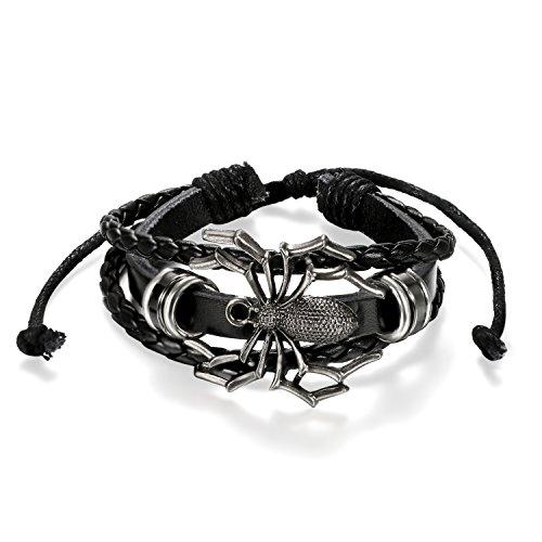 JewelryWe Schmuck Herren Armband, Gotik Punk Spinne Geflochten Kordelkette Armreif Surferarmband,...