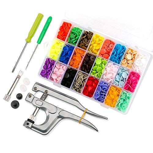 Druckknopf Set, Queta 360 T5 Druckknopf Set Snap in 24 Farben Nähfrei Buttons mit Snaps Zangen und Organizer Lagerbehälter für DIY Basteln