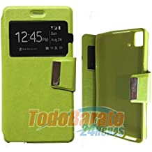 Todobarato24h Funda Libro Ventana Verde Fnac Phablet 4 Pulgadas BQ aquaris E4 FHD HD
