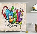 Abakuhaus Duschvorhang, Musik Grafiti Schriftzug im Grunge Kopfhörer Bunt zurück Bass Sound Music Thema Druck, Wasser und Blickdicht aus Stoff mit 12 Ringen Schimmel Resistent, 175 X 200 cm