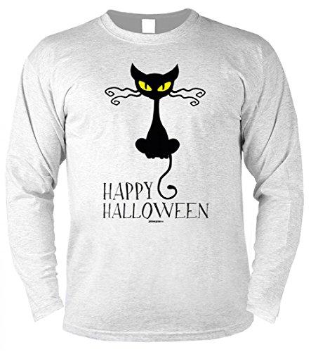 ren Langarmshirt zu Halloween - Katze: Happy Halloween - Geschenk-Idee zur gruseligsten Zeit Des Jahres - Farbe Grau, Größe:M (Halloween-ideen Für Katzen)