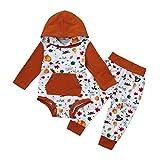 KOLY Ringraziamento dei neonati neonati ragazzi Stampa Tops + Pants Outfits Set di vestitidelle Vestiti Romper Pantaloni Vestito per Felpa Top con Cappuccio Forma Invernale Abiti Set (White, 70CM)