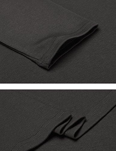 Parabler Damen Skaterkleid Rundhals 3/4 Ärmel Casual Stretch Kleid A-linie Freizeitkleid Knielang Strickkleid Winter Herbst Dunkelgrau