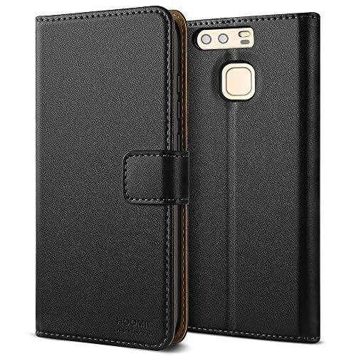 HOOMIL Huawei P9 Hülle, Premium Handy Schutzhülle für Huawei P9 Leder Wallet Tasche Flip Brieftasche Etui Schale (H3012, Schwarz)