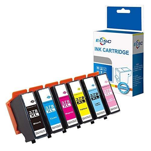 8500 Cyan Magenta Gelb Tinte (ECSC Kompatibel Tinte Patrone Ersatz für Epson XP-8500 XP-8505-378XL (Schwarz/Cyan/Magenta/Gelb/Licht Cyan/Licht Magenta, 6-Pack))