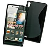 Design Rubber Silikon TPU Case in Schwarz kompatibel mit Huawei Ascend P6 - Cover Hülle Schale