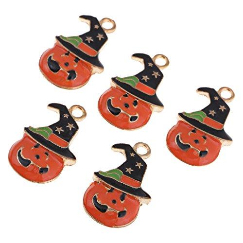 Homyl 5 Stück Halloween Kürbis Hut Knöpfe Gemischt Knöpfe Künstliche Perlen Flatback Verzierung DIY Scrapbooking Basteln Schmuckherstellung
