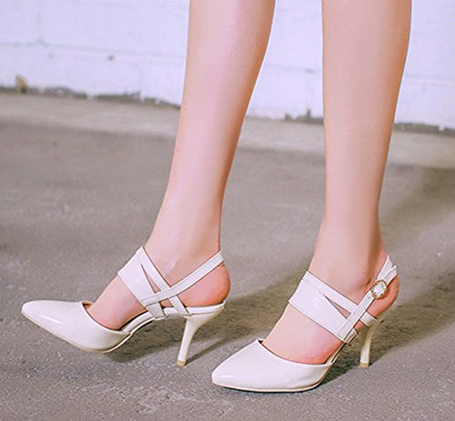 Aisun Femme Mode Kitten-Heel Bout Pointu Sandales Avec Boucle Beige
