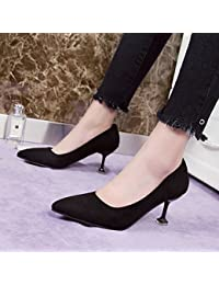 Xue Qiqi Zapatos de Mujer Elegante y versátil, Señaló el Alto Talón Zapatos Finos de luz única Carrera Zapato,...