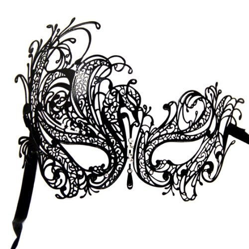 Venetian Style Metal with Rhinestone Filigree Masquerade Mask Prom Dress Black /White Rhinestone by Winrembrandt ()