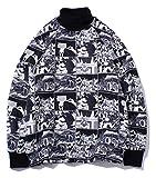 Pizoff Unisex Hip-Hop Druckmuster Kapuzenpullover - tifer Schalternaht Raglan-Shirt mit Kapuze Manga Schwarz und Weiß Y1899-01-S