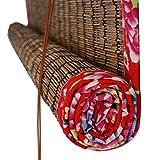 Porta zanzariera ZXMEI Tenda di bambù Reed Tende A Rullo Tende Divisorio Vintage Protezione Ambientale Muffa Impermeabile, Casa Negozio di tè - Lato Rosso (Size : W 1.3xH3m)