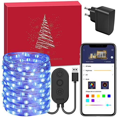 10M RGB Lichterkette, Minger 100 LEDs 10M RGB Multifarbe Kupferdrahtlicht APP steuered wasserdicht 7 Szenendodi Innen und Außen für Weihnachen Party Hochzeit
