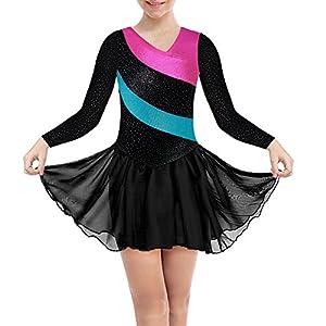 DAXIANG Gymnastik-Turnanzug für Mädchen Lange Ärmel Ärmellose Rainbow Stripes mit Ballett Tüll Kleid Rock