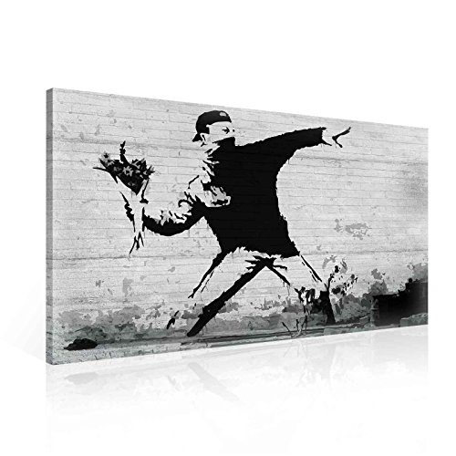 70a794463a Banksy Rage Flower Thrower Leinwand Bilder (PP2085O1FW) - Wallsticker  Warehouse - Size O1 -