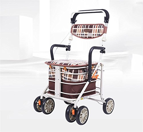 XYLUCKY 001H-3 Deluxe leichte ältere Walk & Rest Folding 4 Rad Shopping Trolley mit Sitz und Sicherheits Bremse - einstellbare Höhe (Vier-rad-rollator)