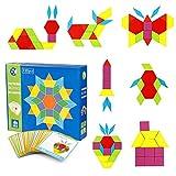 Blocchi di Legno Classico educativo Giocattoli Montessori Set di Tangram per Bambini con 130 Pezzi di Forma Geometrica e 24 schede di Progettazione