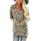 TIFIY Damen Leoparden Druck Langarm T-Shirt Mode O Hals Pullover Freizeit Lange Ärmel Bluse Oberteile (Khaki,EU-38/CN-L)