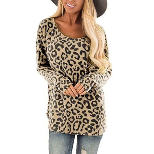 Oliviavan Bluse Damen Leopard beiläufiges langes Frauenoberteil Tops Streetwear Frauen Pulli Leopardenmuster T Shirt Lang Blusen Tuniken