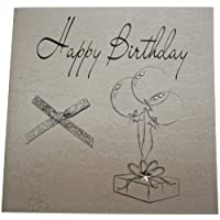 WHITE COTTON CARDS Handmade Happy Birthday Card, White
