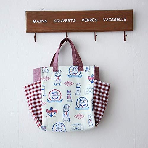 Borsa di Tela Singola esportazione Originale del Giappone può Mettere bollitore Multi-Tasca Simpatico Gatto Borsa Primavera e Estate Tote Bag Impermeabile (Colore : Red+Coating)