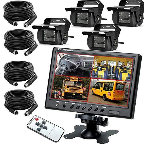 """OUKANING Rückfahrkamera 9\"""" Zoll 4CH Auto Rückfahrkamera Video Quad Split 4Pin Monitor Fernbedienung"""