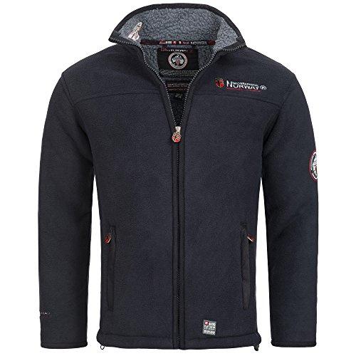 Geographical norway, giacca in pile, da uomo, con calda fodera in pelliccia, taglia: da s a xxxl blu navy l