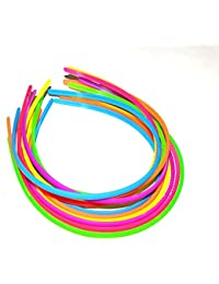 Multi-Colour Neon Daily Use Super Sleek Plane Plastic Hair Bands For Girls And Women (Set Of 12 Hair Bands)