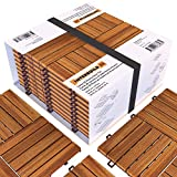 Piastrelle a incastro in legno di acacia, facili da installare,Per Deck, Patio e Balcone, 30 x 30 cm, 0,9 m2 per CONFEZIONE, 10 pezzi in totale.